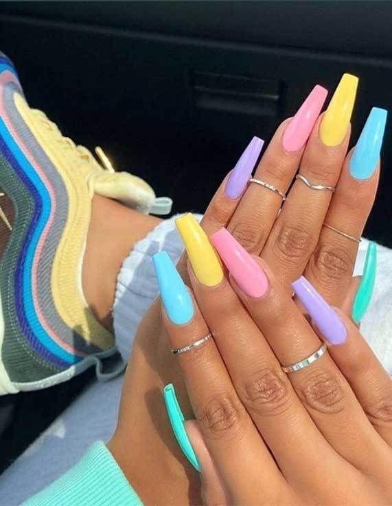 Rainbow Acrylic Nails Coffin Rainbow Acrylic Nails In 2020 Long Nails Square Acrylic Nails Pastel Nails Designs