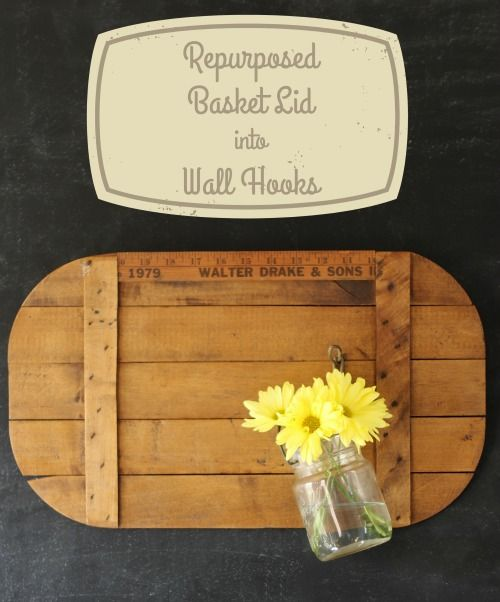 rustic picnic basket wooden crate lid repurposed into farmhouse wall hooks - KnickofTime.net Way to use up pallet wood and mason jars/ms