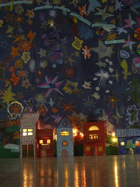 Night Scene - paint your own star mural: Night Backdrops, Stars Murals, Kids Art, Art Houses, Art Activities, Art Projects, Starry Nights, Art Rooms, Kids Rooms