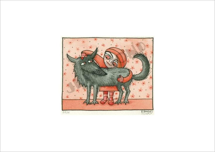 Auch kleine Mädchen lieben Wölfe...  Natürlich ein Original.    Dieses ist die Nummer 09 von 10 kleinen Mädchen mit ihren Wölfen. Alle Bilder diese...