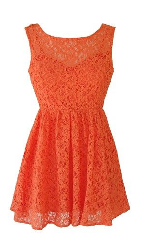 orange lace dress | Orange Lace Open Back Dress