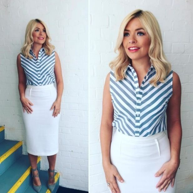 holly willoughby | Get the look! Holly Willoughby nails nautical vibes in £15 shirt on ...