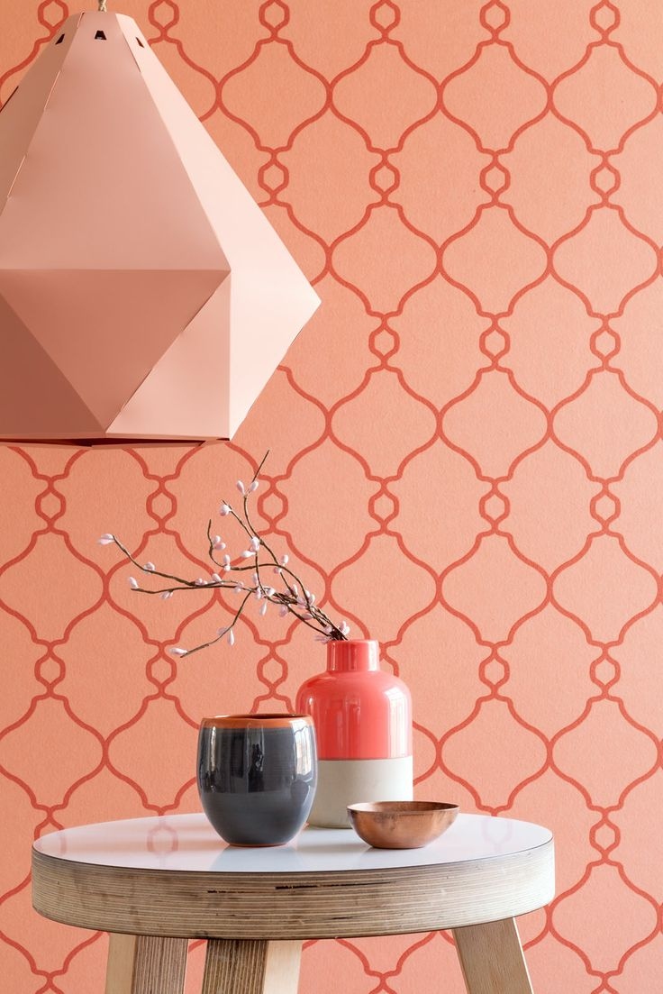 Oranje behang orange wallpaper collection art of living bn wallcoverings maison belle coral - Kleur trendy restaurant ...