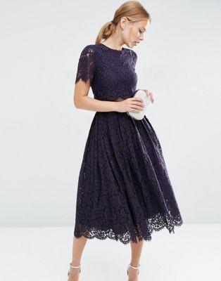 Платье миди для выпускного с укороченным кружевным лифом ASOS