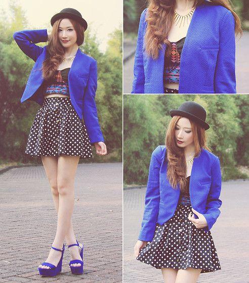 Kristine's Collection Blue Blazer, Topshop Polkadot Skirt, Amber Avenue Aztec Bralette, Gowigasa Spike Necklace, Steve Madden Blue Wedges