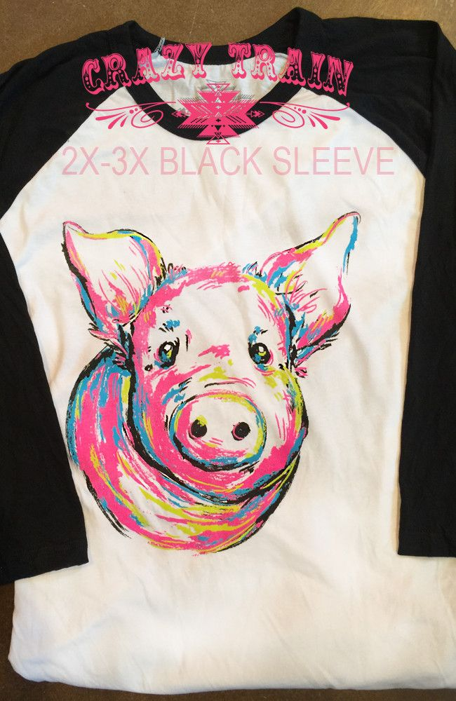 Crazy Train Piggly Wiggly Baseball Tee Shirt Pig/Piglet