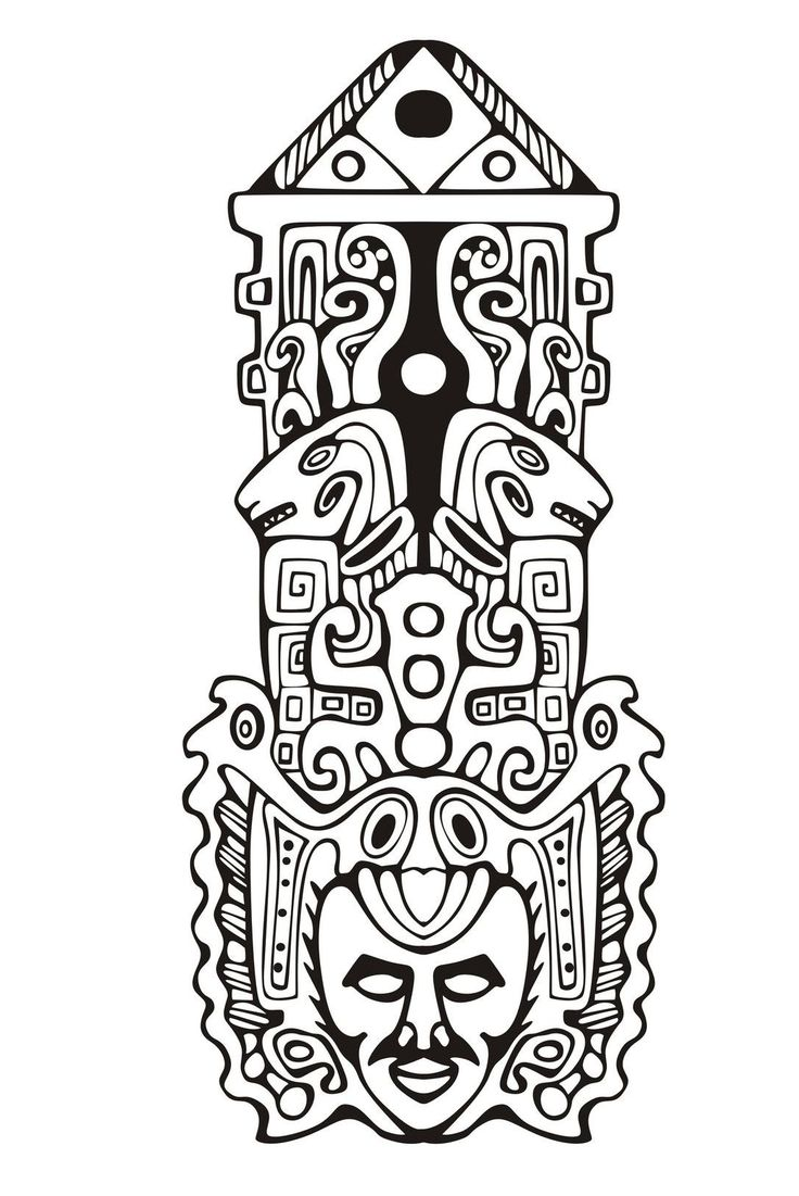 Free Coloring Page Coloring Adult Totem Inspiration Inca