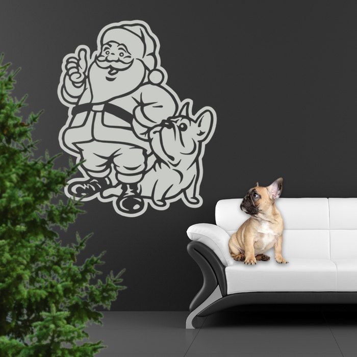 Santa Claus and French Bulldog, Christmas Vinyl Sticker Decal - Good for Walls, Cars, Ipads, Mirrors Etc by PSIAKREW on Etsy