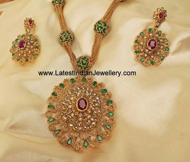 Jaipur Design Uncut Diamond Necklace | Latest Indian Jewellery Designs
