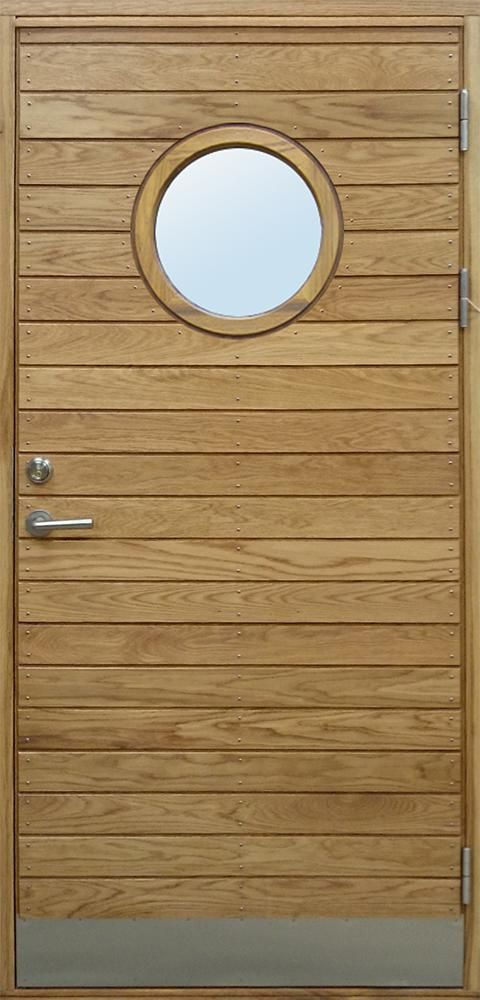Långö oak with round glass. Handmade FSC certified Front Doors I Bovalls Door Factory, Sweden