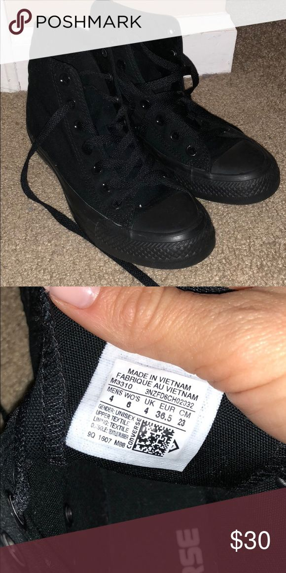 All black converse All black high top converse. Worn once  Men's 4/women's 6 Converse Shoes Sneakers