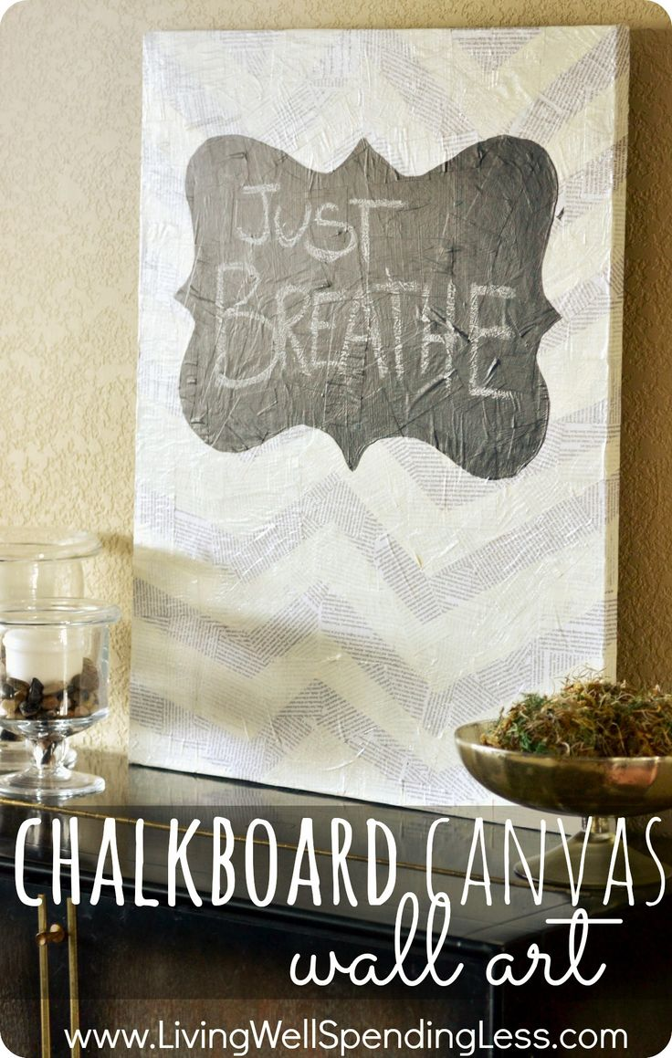 Chalkboard canvas wall art.  Really cool mixed media project using decopage newsprint & chalkboard paint.  Love the subtle chevron stripes--there is so much you could do with this!  Post includes great tips for painting a chevron pattern on canvas.