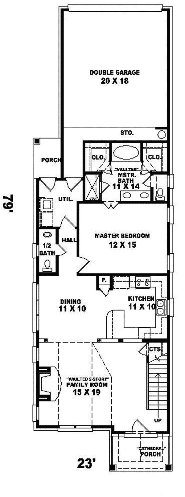 Best 25 narrow house plans ideas on pinterest narrow for Narrow lot one story house plans