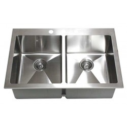 """Premium Top-Mount / Drop-In Stainless Steel Kitchen Sink. 15mm Radius Design. Double 50/50 Bowl with 3 Pre-Drilled Holes. Brushed Stainless Steel Finish. Dimensions 33"""" x 22"""" x 10"""".  http://www.emoderndecor.com/33-inch-top-mount-drop-in-stainless-steel-double-bowl-kitchen-sink-15mm-radius-design-1011.html#.UTX0S2MyXRg"""