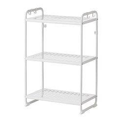 IKEA - MULIG, Shelf unit, white, , Can also be used in bathrooms and other damp indoor areas.The shelves are durable, stain resistant and easy to clean.Hang everything from tools and sports equipment to towels and laundry bags on the short side of the shelf unit using the 4 included hooks.
