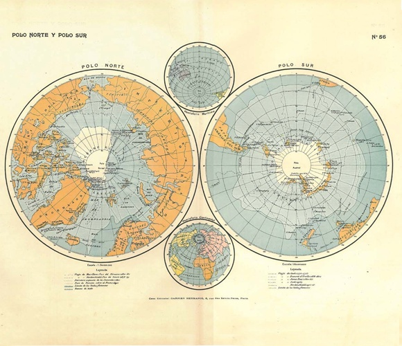 Beautiful vintage North & South Pole Map- love the colors. Todays maps are lack the lovely colors and fine details.