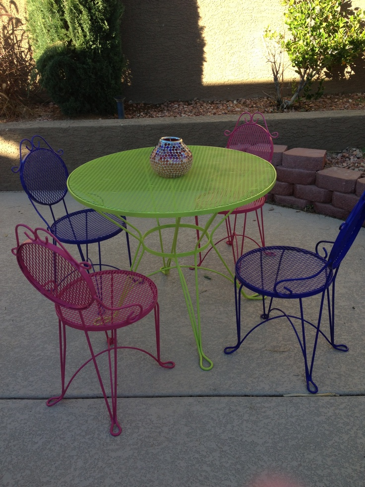 We Spray Painted Our Old Ice Cream Parlor Table U0026 Chairs.
