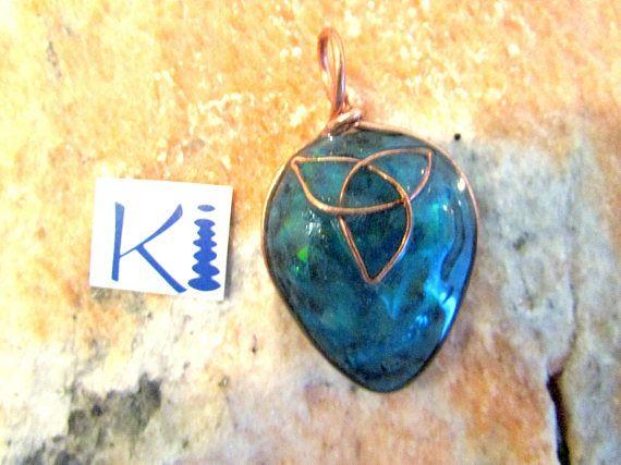 Orgone Celtic Knot Pendant Copper Turquoise Blue Trinity Knot