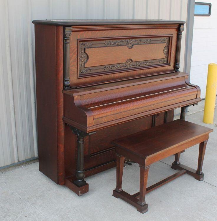 1900 10 Quartersawn Oak Heller Upright Grand Piano W