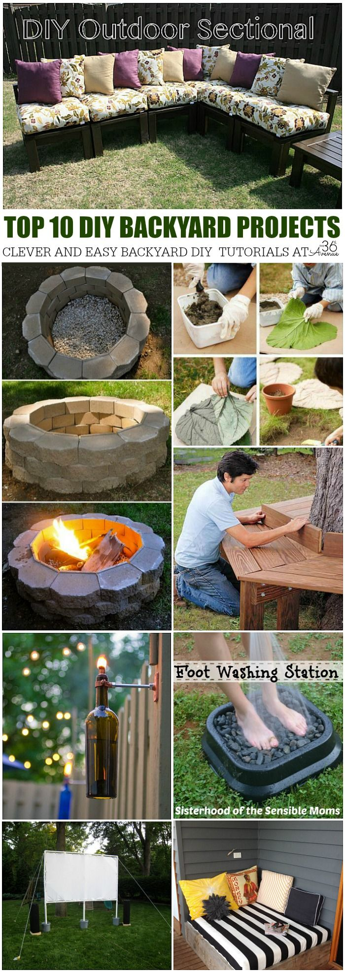 DIY Backyard Top 10 Projects for this summer! Can't wait to start spending more time outdoors.