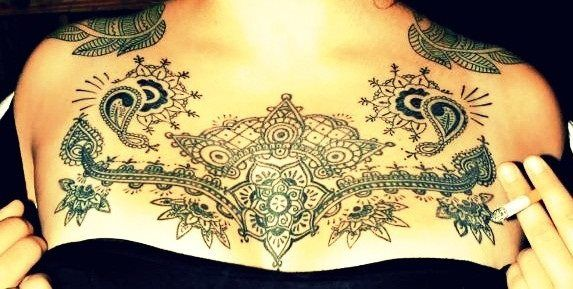 20 Henna Chest Tattoos Ideas And Designs
