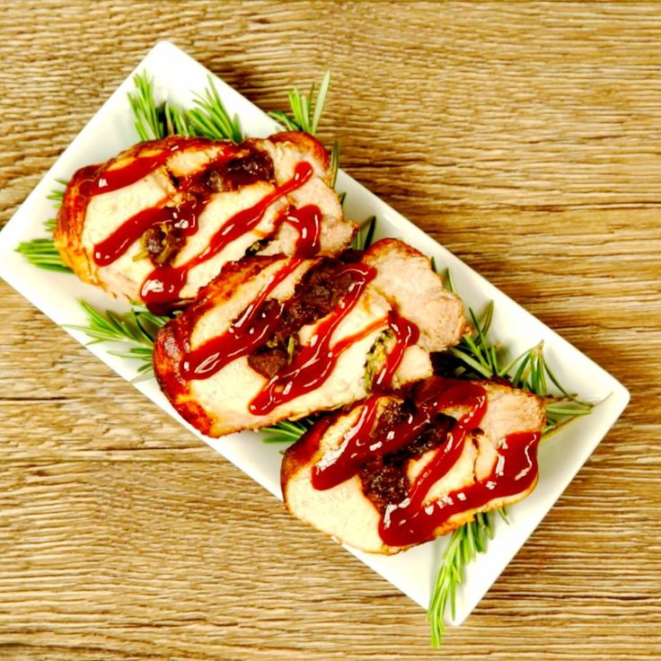 Make no mistake! This is a main course for a special occasion. The pork becomes juicy and crispy on the outside, while the smoky aroma of plums and rosemary brings out the best qualities of the meat. The slices will look good on anyone's plate!