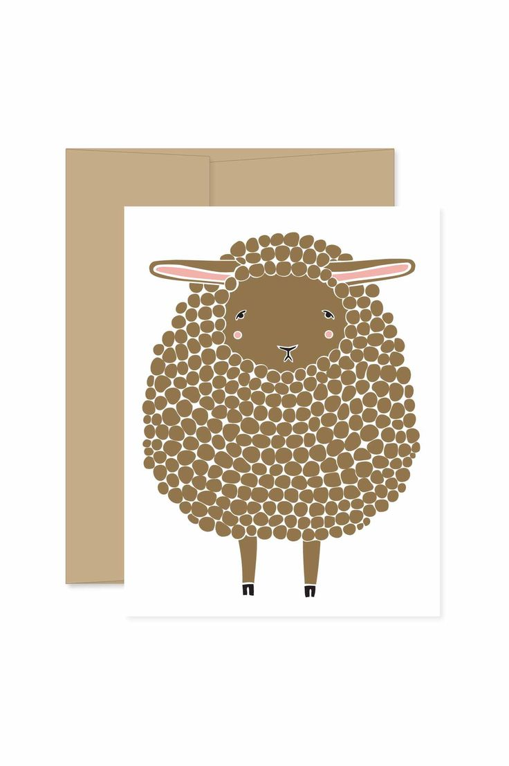 Individual brown sheep card. - A2 size (4.25x5.5) when folded - Blank inside - Hand Illustrated Pattern on the Back - Comes with a Kraft Envelope - Designed & printed in the USA