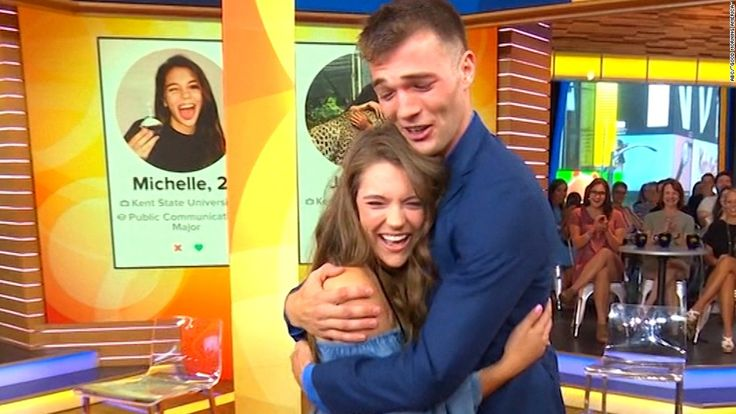 "A couple whose three-year-long Tinder conversation went viral on Twitter met for the first time in person on ABC's ""Good Morning America."""