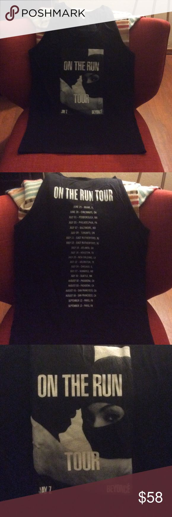 Jay - Z & Beyoncé official On The Run Tour Tank On The Run Tour official merchandise concert Tank, Ski Mask w/ concert dates on back, size large but fit is closer to medium. Tops Tank Tops