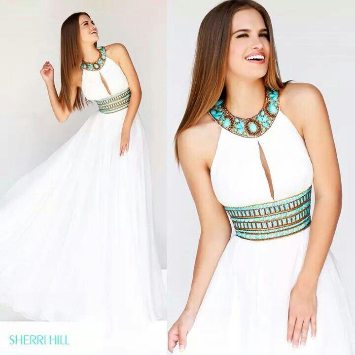 Long white dress. So beautiful