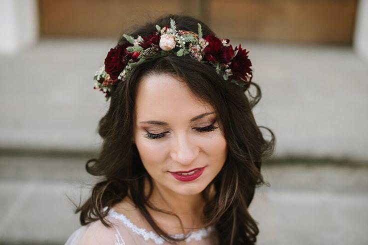 INNA Studio_floral crown / marsala wedding / wianek marsala /  fot. Dreameye Studio