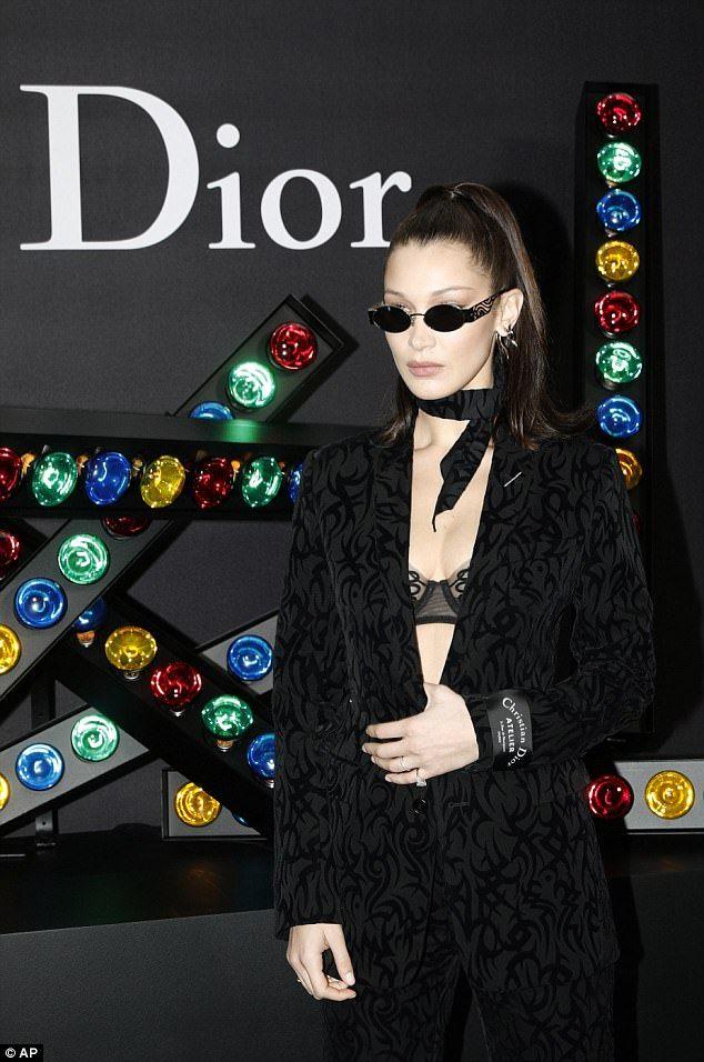 Bella Hadid flaunts serious sideboob at Dior photocall | Daily Mail Online