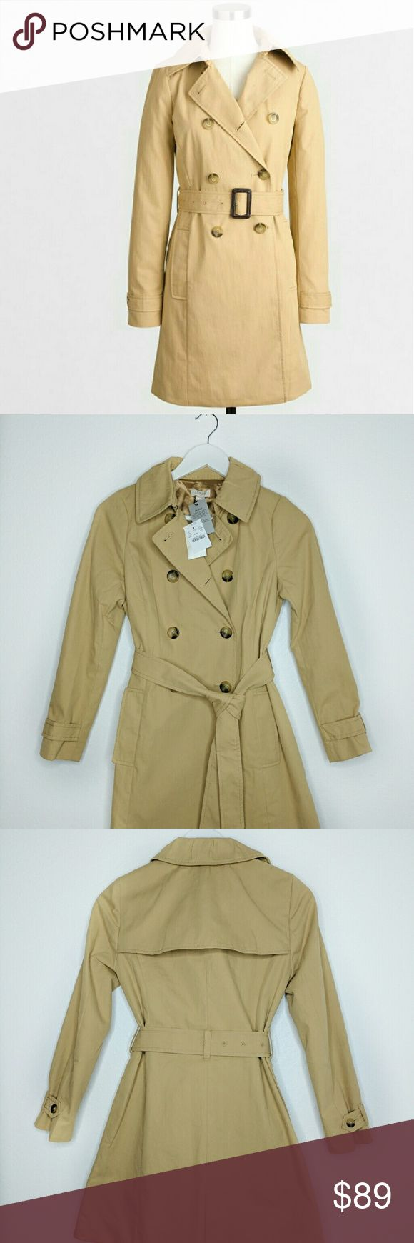 NEW J.Crew Trench Coat Petite New with tags, J.Crew Factory. Size 0 Petite. Warm Desert Color. First Photo from the J.Crew Factory website just to reference.  I always ship next day :) J. Crew Jackets & Coats Trench Coats