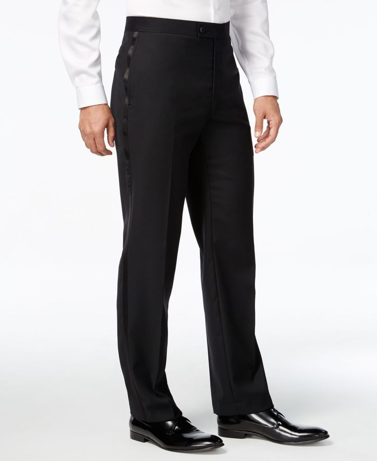 Debonair style in spades. Dress it up to the nines with slim-fitted tuxedo pants from Calvin Klein. | Wool | Dry clean | Imported | Calvin Klein men's tuxedo pants | Flat front | Zip fly with hook-and