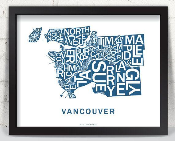 Far Sky Vancouver Typographic Map Typographic Map Print Map
