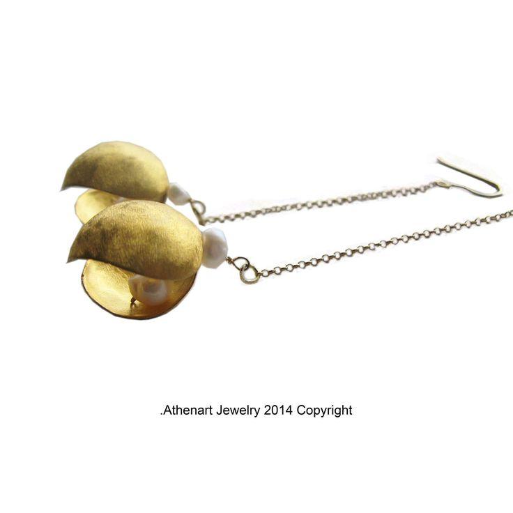 Long gold plated silver earrings -- Designer earrings