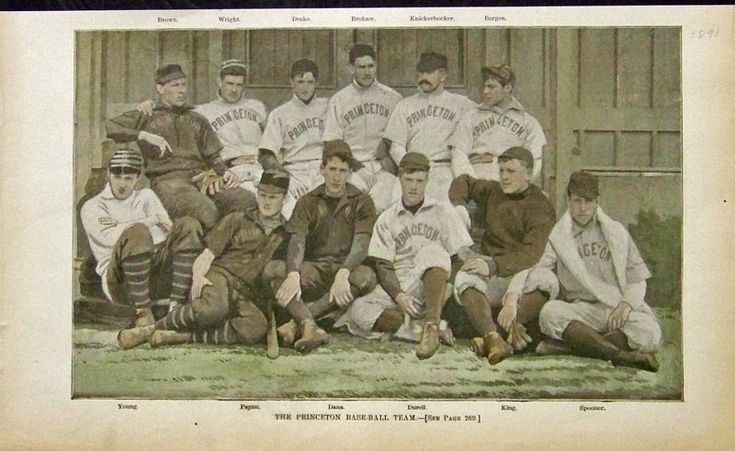"""""""The Princeton Base-ball Team"""", Princeton University, New Jersey. c.1891. Included in image, are the names of the players labeled above and below their photos. ~ {cwl} ~ (Image: Prints Old and Rare)"""