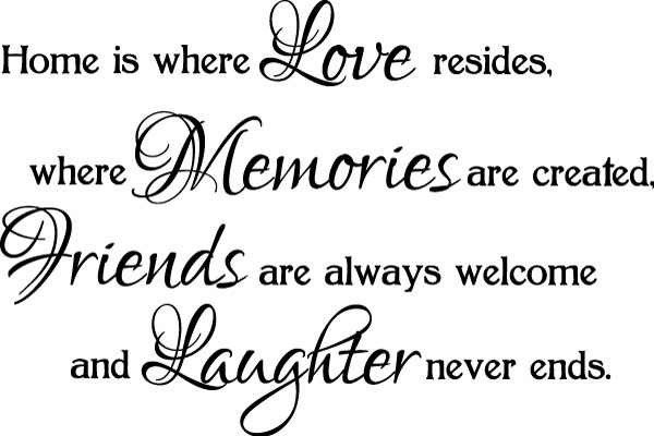 Home Is Where Love Resides, Where Memories Are Created