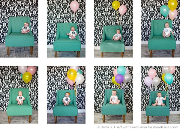 Documenting Your Baby's Growth with Fun Monthly Photos.  Lots of different ideas!  Loved this one with the balloons for how many months he/she is in each picture.