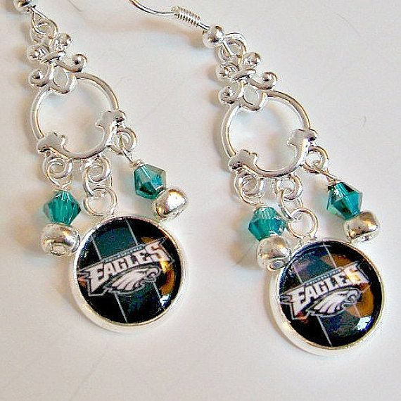 NFL Philadelphia Eagles Football Earrings by SportsJewelryStudio on Etsy.  etsy.com/shop/sportsjewelrystudio