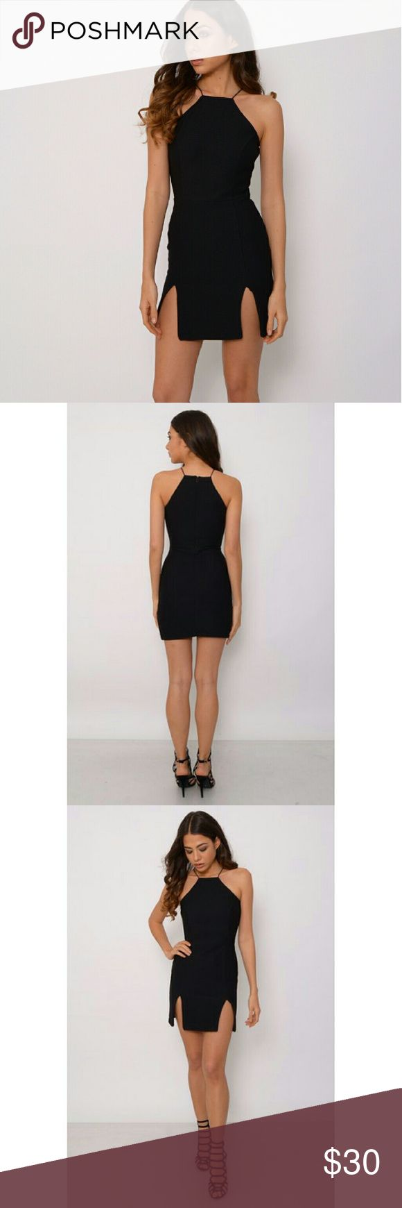 Black Mini Dress New for this spring summer, introducing this gorgeous black bodycon dress with double front split detail. Perfect to wear with high heels, cream clutch bag and add a statement necklace for that extra glam touch. Classic LBD. Dresses Mini
