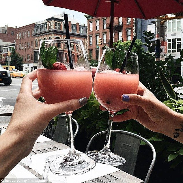 Frosé (Frozen Rosé) - get recipe here: http://www.dailymail.co.uk/femail/food/article-3713471/Fros-day-New-Yorkers-gaga-FROZEN-ros-latest-sip-drink-taking-social-media-storm.html