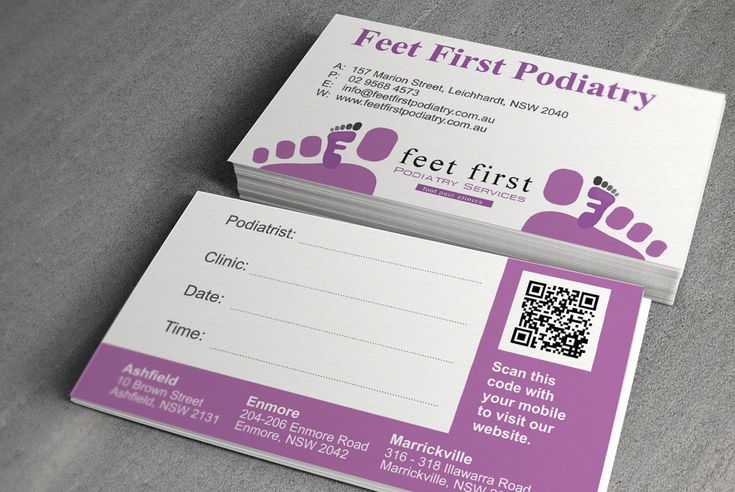 Business card design for a podiatry business.