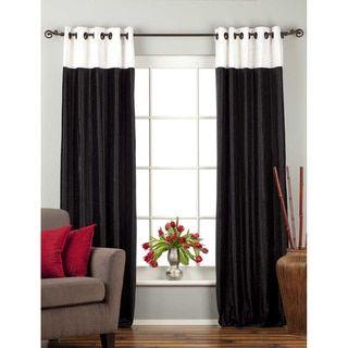 Black velvet panel curtains with white tops