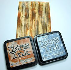 Woodgrain tutorial using glue and distress inks