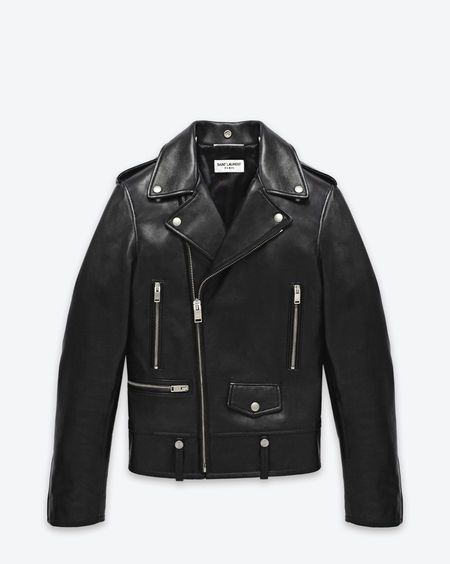 SAINT LAURENT @YSL Classic Motorcycle Jacket in Black Leather