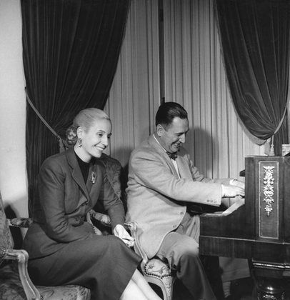 Evita Peron with husband, President Juan Peron circa 1944