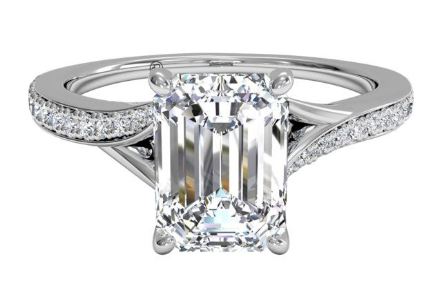 Emerald Cut Diamond Engagement Ring with Modern Bypass Micropavé Diamond Band in White Gold, by Ritani