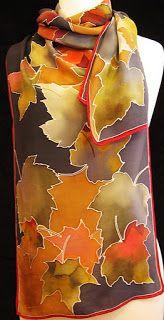 Hellenne Vermillion Art: Fall Maple Leaves Silk Scarf