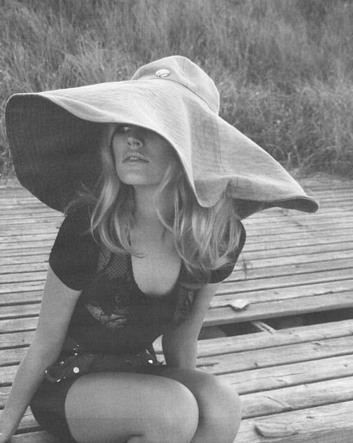 Bridgette Bardot, big floppy summer hat Womens vintage celebrity fashion photography photo image picture photography